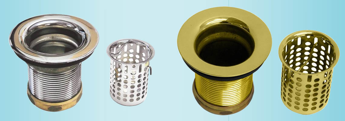 Silver and brass painted basket perforated sink strainers