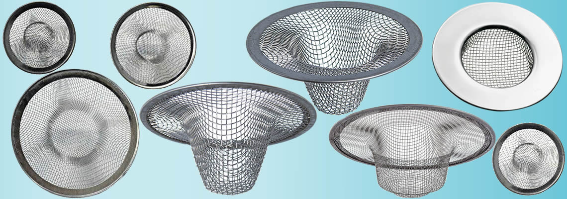 Stainless steel mesh sink strainers in various sizes and types