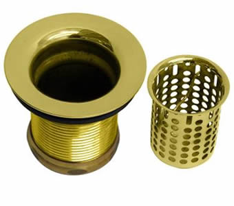A brass finish basket sink strainer and strainer body