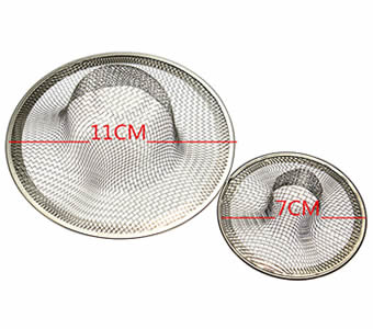 Medium and large size mesh sink strainers